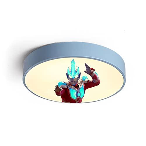 Plafón Led De Techo Niñas Niños Dormitorio,Lámpara De Techo Regulable Para Habitación Infantil,Estilo Un Azul 50Cm Tricolor Light Lámpara De Dibujos Animados De Lámpara Ultraman