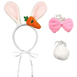 Lamphyface Easter Dog Bunny Ears Headband Costume with Tail and Bowtie Collar