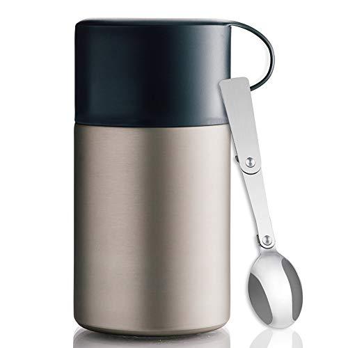 BOHORIA® Premium Thermobehälter Lunchbox mit Löffel 600 ml | Isolierbehälter | Edelstahl | Thermo-Gefäß für Suppe, Salat, Müsli und Babynahrung | Speisebehälter Warmhaltebox Essensbox (Black)