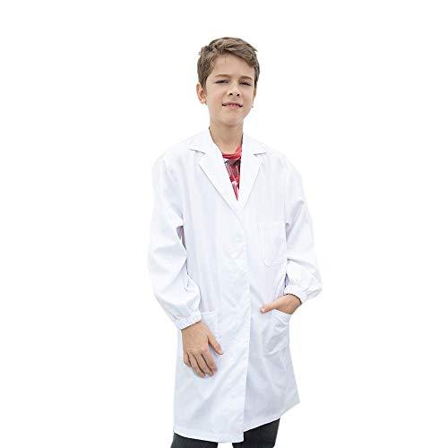Icertag Bata de Laboratorio Enfermera Sanitaria de Trabajo Blanca con Manga Larga para Hombre, Blanco (Altura:130-140 cm)