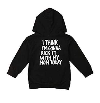 1-6T Kids Toddler Boy Girl Hoodies Pullover DAD Letter Print Sweatshirt Hooded Jersey Casual Clothes Outdoor Outfit (Mom Black, 3T-4T)