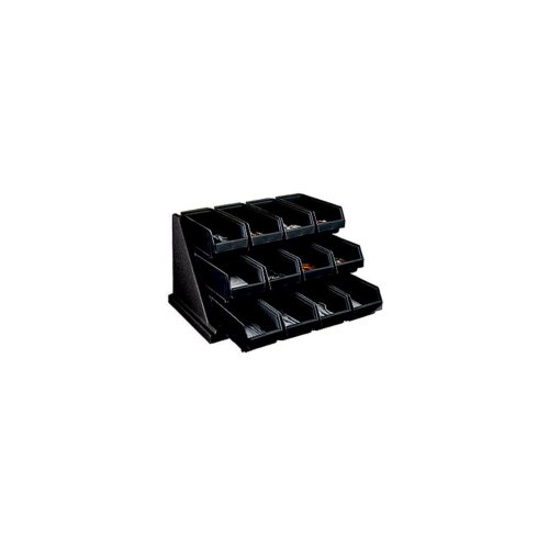 Cambro 12RS12110 Black Versa Self Serve Condiment Bin Stand Set with 3-Tier Stand and 12