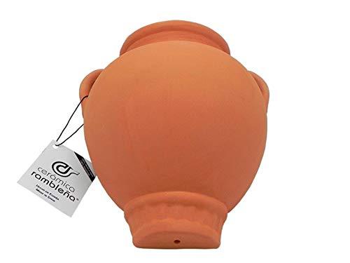Jardinière en céramique en forme d'orge pour suspendre un pot de fleurs - Argile rouge - 100 % décorée à la main - 22 x 20 x 15 cm