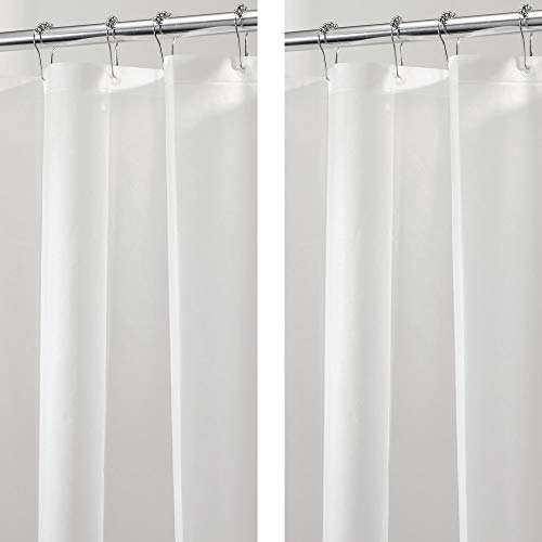 mDesign Plastic, Mold/Mildew Resistant, Heavy Duty PEVA Shower Curtain Liner for Bathroom Showers and Bathtubs - 3 Gauge - 2 Pack - Clear