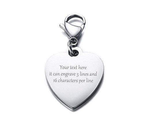 VNOX Personalizado de Acero Inoxidable Personalizado en Forma de Corazón Llavero ID Tag Keyring para Chica de Las Mujeres, Grabado Gratuito