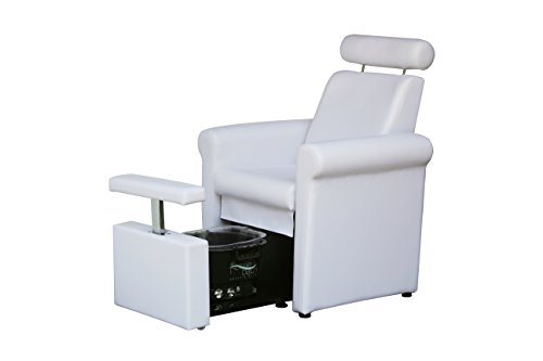 BR Beauty Mona Lisa Plumb Free Pedicure Chair for Salons, Reclining Backrest, Adjustable Headrest, Pull Out Leg Rest is Adjustable and Lockable, No Plumbing or Installation, White, CHM-2320-5H-WHITE