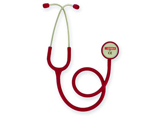 GIMA - Classic Doppelkopf-Stethoskop, Bordeauxroter Schlauch, Littmann-Stethoskop, Erwachsene, Berufsstethoskop
