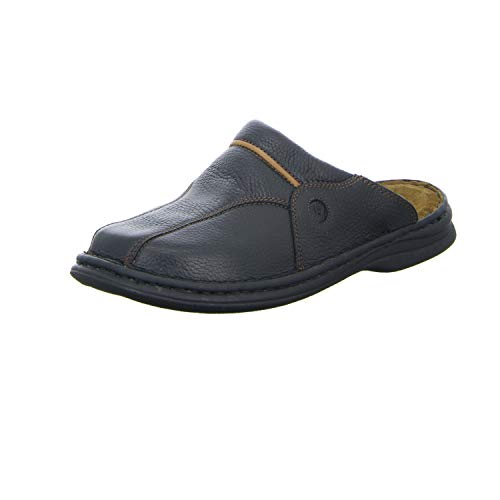 Josef Seibel Klaus Herren Clogs | Echtleder-Herrenschuhe für drinnen und draußen | Komfort-Schuhe aus Rindsleder, Schwarz (611 schwarz/cognac), 43 EU