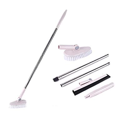 Floor Scrub Brush Removable Adjustable Long Handle -Tile/Tub / Bathroom/Wall / Recesses and Grout Brush Scrubber with Stiff Bristle Sturdy and Durable