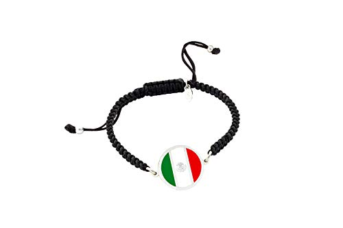 Pulsera con Bandera de México| Pulsera mujer y pulsera hombre| Pulsera personalizada| Regalo original |Bandera de México | Yo me quedé en casa (Personalizada, Plata Mate)