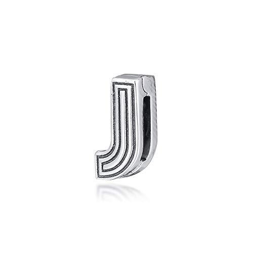 Pulsera de joyería 925 Pandora Natural Fit Reflexions Letra J Clip Charm Beads Sterling Silver Bead Charms para Hacer Berloques Regalos de Bricolaje para Mujeres