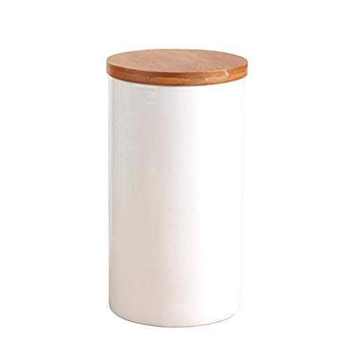 Food Storage Jar Ceramic Kitchen Canisters with Airtight Seal Bamboo Lid White Ceramic Food Storage Canister for Serving Tea Coffee Spice and More 100x185mm1000ml