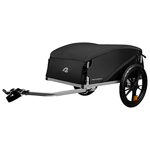 "Retrospec Rover Hauler Cargo Bike Trailer | Folding Frame & Weather Resistant Fabric | Large Cargo Carrier | Fits 20"" - 29"" Bicycle Wheels | Black"