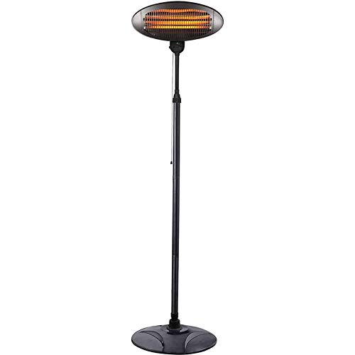 L.BAN Outdoor Quartz Electric Garden Patio Heater, Free Standing Waterproof- 3 Power Settings - Adjustable Heat Angle And Height Adjustable Stand-A