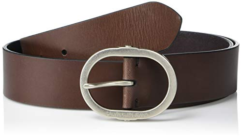 Calvin Klein Women's Jeans Leather Belt with Center Bar Buckle, Brown, L