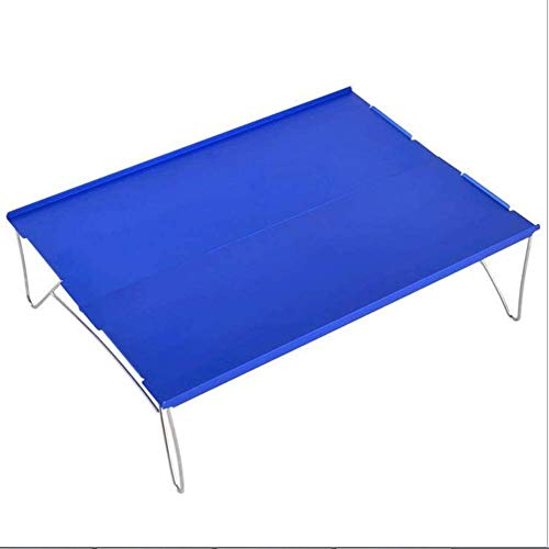NLRHH Mesa plegable al aire libre para camping, aleación de aluminio, mesa de picnic, impermeable, ultraligera y duradera, mesa plegable para picnic (color: B) (color: azul)