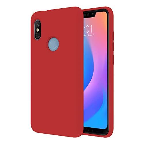 """TBOC Funda para Xiaomi Redmi 6 Pro - Mi A2 Lite [5.84""""]- Carcasa Rígida [Roja] Silicona Líquida Premium [Tacto Suave] Forro Interior Microfibra [Protege la Cámara] Resistente Suciedad Arañazos"""