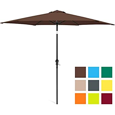 Best Choice Products 10ft Steel Market Outdoor Patio Umbrella w/Crank, Tilt Push Button - Brown