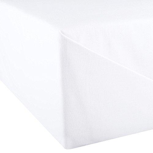 aqua-textil Superior Bettlaken ohne Spanngummi 150 x 250 cm weiß Baumwolle leichte Sommer-Bettdecke