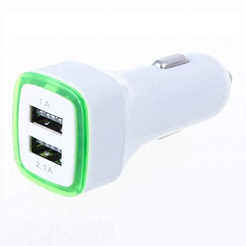Doble Adaptador LED para Encendedor de Cigarrillos USB para Xiaomi Redmi S2 Smartphone Doble 2 Puertos Coche Cargador Univers (Verde)
