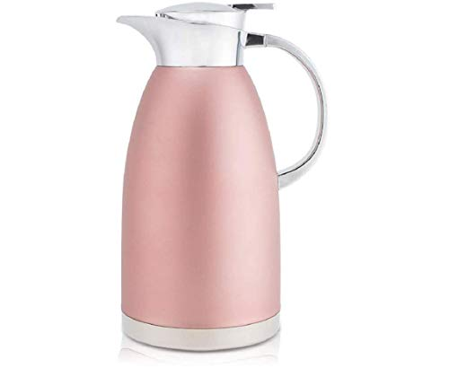2.3 Litre Food-Grade Stainless Steel Thermal Carafe Jugs, Double Walled Vacuum Insulated Coffee Pot with Press Button Top,Many Hrs Heat Cold Retention, for Coffee/Juice/Milk/Tea etc(Pink)