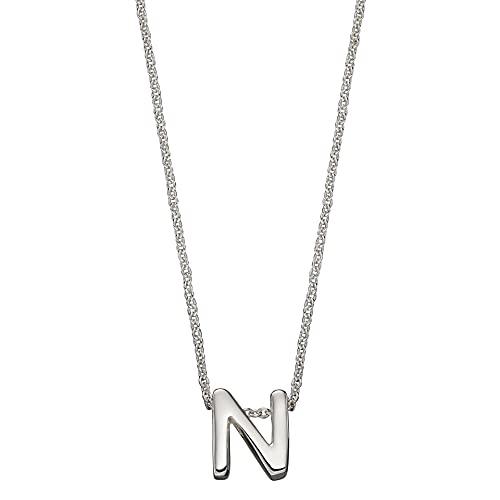 Beginnings - Collar de plata de ley 925 para mujer, adolescente, niña, hombre, niño, letra inicial del alfabeto (41 cm + 5 cm)