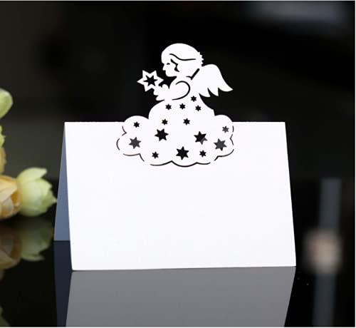 MKISHINE 50 PCS Angelo Segnaposto Tavolo di cartoncino con Un Leggero Effetto Perlato,Segna Tavoli Semplice da Scrivere e Piegare per Il Matrimonio Battesimo Comunione Festa Compleanno (Pearl White)
