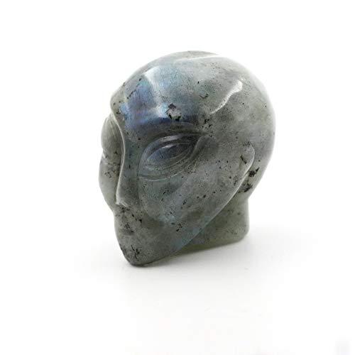 Gemstone 1.8' Alien Skull Hand Carved Fine Art Sculpture Skull Stone Pocket Statue Figurine Decor Healing Crystal Energy Collectible Figure(Labradorite)