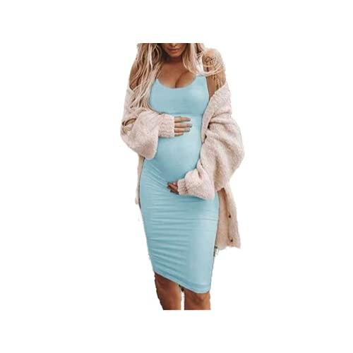 Vestido de embarazo de las mujeres Sexy sólido maternidad embarazada O-cuello sin mangas de enfermería