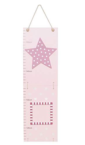 Meetlat hout met fotolijst sterren roze en blauw roze