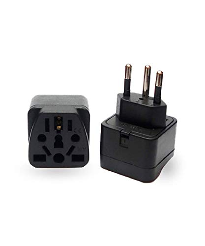 Vzolution Travel Plug Adapter (Type N) for Brazil, South Africa - 2 Pack [Grounded 3-Prong plug & Universal]