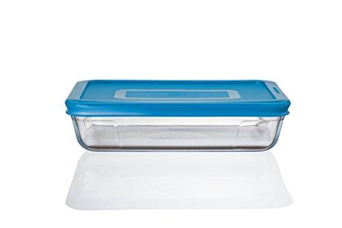 Pyrex Cook n Fresh - Rectangular Storage Dish with Mid Blue Plastic Lid - 0.8L (Dimensions: L19 x W14 x H 4.5 cm)