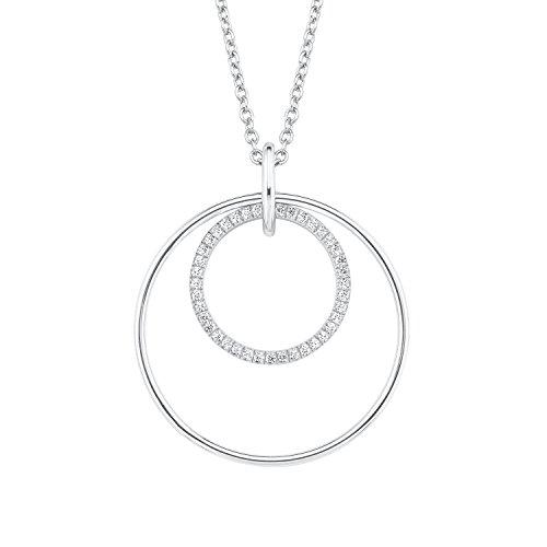 S.Oliver Damen Kette mit Kreis-Anhänger 925 Sterling Silber rhodiniert Zirkonia 72+5 cm weiß