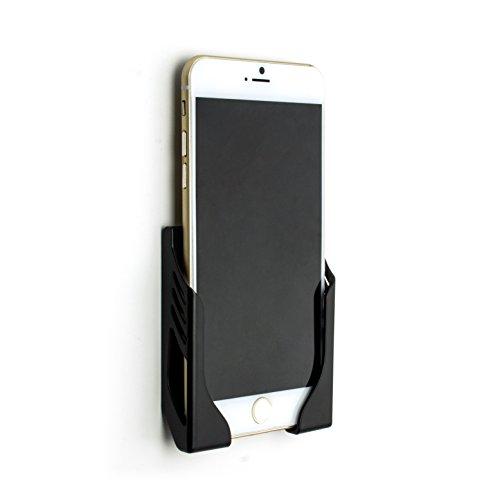 Dockem Wandhalterung für iPhone 11, 11 Pro, 11 Pro Max, Xs, XS Max, XR, X, 8/7/6S/6, 8 Plus, 7 Plus, 6 Plus, 6S Plus mit 3M-Klebestreifen - Koala Beschädigungsfreies Mount Wall Dock [Schwarz]