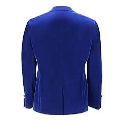 Mens Velvet Tuxedo Dinner Jacket Retro Smoking Coat Formal Tailored Fit Blazer[BLZ-Dinner-Mike-Royal-Blue,Royal Blue,Chest UK 54 EU 64] #3