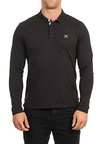 OxbOw M2NIROS Polo Manches Longues Homme, Noir, FR : M (Taille Fabricant : M)