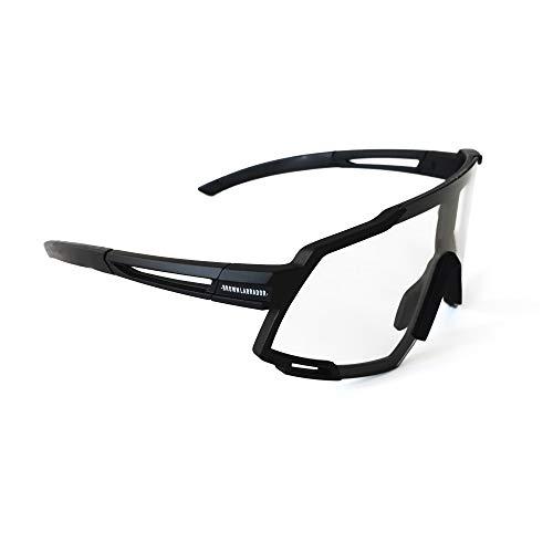 Brown Labrador Polarisierte, photochrome Fahrradbrille mit 6 UV 400-Wechselobjektiven. Sportbrille, Running Trail Running, MTB-Radfahren für Männer und Frauen (Schwarz)