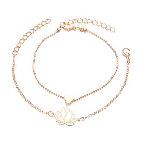 Timesuper Pulsera de tobillo con diseño de flor de loto con forma de corazón bohemio, para mujeres y niñas