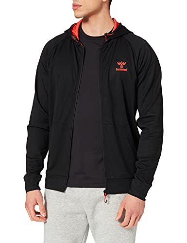 hummel Unisex-Adult Action Zip Hoodie Sweatshirt, Black/Fiesta, L