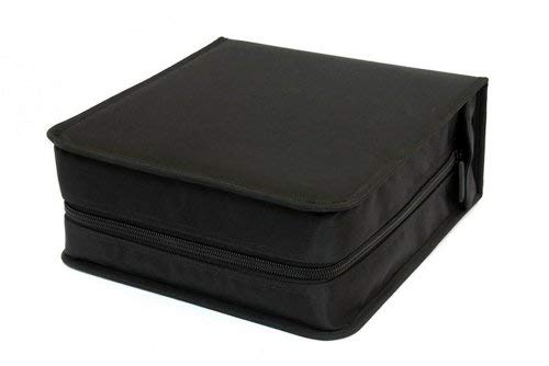 GOODS+GADGETS CD-Wallet/Mappe & DVD-Tasche aus robustem Nylon und Zwischenseiten aus Stoff, Disc-Organizer verschließbar mit Reisverschluss (300 CDs)