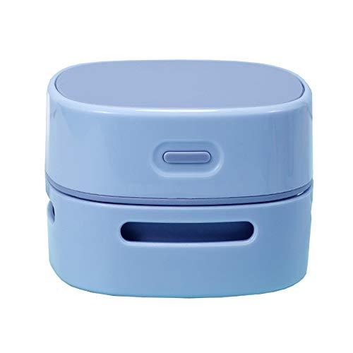 BOEYAA Aspiradora de escritorio para estudiantes, recargable, mini aspiradora eléctrica (azul, batería)