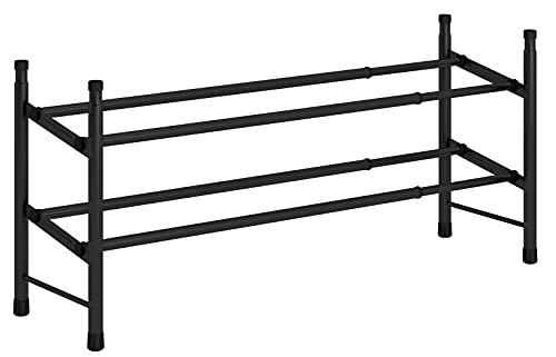 "TZAMLI 2-Tier Free Standing Shoe Rack Metal Iron of Expandable and Adjustable Shoes Organizer, Stackable Shoe Shelf for Entryway Doorway, 24.41"" x 8.66"" x 13.78"" (Black)"
