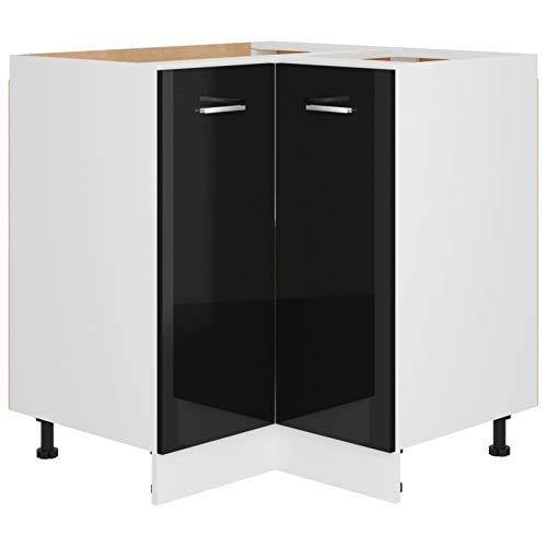 Tidyard Armadio Angolare da Cucina in Truciolato Mobile da Cucina Salvaspazio Armadietto con 2 Ripiani,Stile Moderno,75,5x75,5x80,5 cm,Colore Nero Lucido