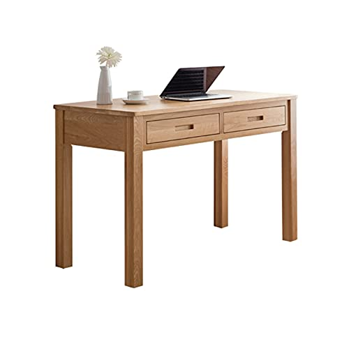 Escritorio de muebles de oficina simple de oficina de roble sólido ORDENADOR PERSONAL Escritorio de la computadora portátil con 2 cajones de madera sala de estudio estación de trabajo escritorio de es