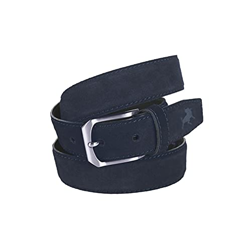 Lois - Cinturon Piel Serraje Ante Cuero Hombre Mujer. Hecho en ESPAÑA. Marca 35 mm Ancho. Talla Ajustable 49701, Color Azul