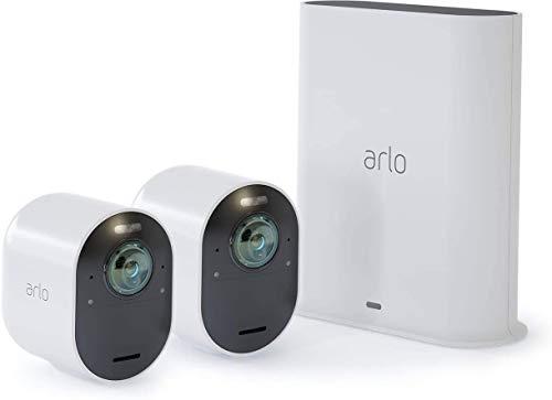 Arlo Ultra Smart Home 2 kabellose 4K-HDR Überwachungskameras & Sicherheitsalarm, Innen/Außen