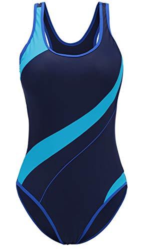 Womens Plus Size Swimsuit One Piece Swimwear Design Bathing Suit(Sapphire 12)