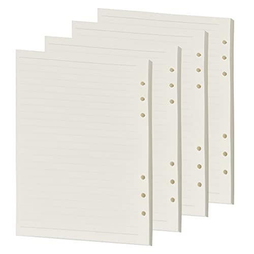 4 paquetes Papel de cuadros de papel de línea horizontal A5 45 páginas de papel de recarga Páginas de recarga en blanco de recarga Carpetas de anillas en blanco para estudiantes