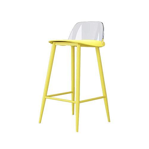 Stoelen en krukken Barkruk Barkruk Home Kitchen Breakfast Bar Stoel, Pp Chair High Chrome Footstool Transparante rugleuning Kruk 2 kleuren, 60-80cm (kleur: blauw) (kleur: geel)