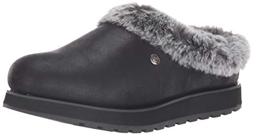 Skechers Damen Keepsakes-R E M Flache Hausschuhe, (Black Micro Leather/Faux Fur Line Blk), 7 (40 EU